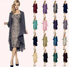 Mother of the Bride Dress Fornal Outfit Bridesmaid Chiffon Jacket + Lace Dress