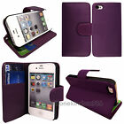 Flip Wallet Leather Card Holder Case Cover For iPhone 4 4S FREE Screen Protector