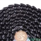 "Natural  Black Agate Drop Shape Smooth Gemstone Beads Strand 15"" 8x12mm 10x14mm"