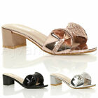 WOMENS LADIES LOW MID BLOCK HEEL SPARKLY DIAMANTE BOW SLIP ON MULE SANDALS SIZE