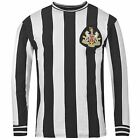 Newcastle United FC Retro 1970s Jersey Mens Black/White Shirt Top Football