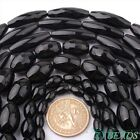 "Natural Black Agate Oval Gemstone Beads Strand 15"" 6x8,8x12,12x16,13x18,10x30mm"