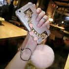 For Samsung Galaxy S8 Plus Bling Cute Heart Bracelet Rabbit Ball Fur Case Cover