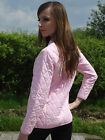 New Womens Ladies Lightweight Diamond Sports Quilted Riding Jacket Pink Fitted