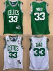 NWT Larry Bird 33 Boston Celtics Jersey Stiched White Green Rev30 Mesh S L