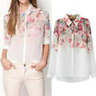 Womens Tops Casual Blouse Long Sleeves Floral Print Blouse Shirts Plus Size New