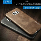 Retro Vintage Slim PU Leather Hard Back Case Cover For Samsung Galaxy S6 S7 Edge