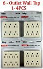 Grounded Wall Outlet Tap AC 125V Power Adapter Electrical 6 way Plug Packs
