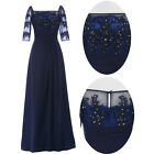 Vintage Retro Formal Long Lace Navy Blue Evening Prom Gown Mother of Bride Dress