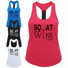 Squat Now Wine Later Ladies Strap Back Vest - Funny Gym Workout Exercise Top