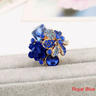 Colorful Resin Flower Ring Adjustabl Women Crystal Party Wedding Jewelry Sizable