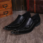 Men's metal rivets pointed toe leather slip on shoes dress formal wedding party