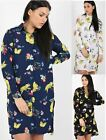 Ladies Womens Oversized Shirt Floral Print Long Cotton Collared Blouse Dress Top