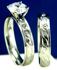 Engagement Ring Womens Solitaire CZ Stainless Steel Wedding Bridal Band Set