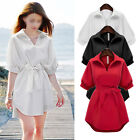 NEW Womens Half Sleeve Shirt Dress V-Neck Bowkont Loose Ladies Casual Dresses