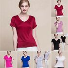 Womens Girls 100% Pure Silk Knitted T Shirts Short Sleeve Tops V Neck Blouse Tee