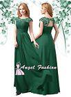 ANGEL M03 Emerald Green Lace Full Length Bridesmaid Prom Evening Dress UK 8 - 24