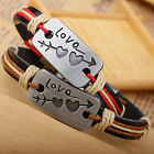Couples Leather Bracelet Love Heart Arrow Lovers Charms Bangle Bracelet Gift