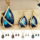 Rhinestone Crystal Necklace Earrings Gold Plated Jewelry Set For Wedding Bridal