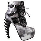 Black Punk Design Brown Snake Pattern Women's High-top Bone High Heel Ankle Boot