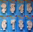 Gold Number Birthday Candles Cake Topper Party #2 3 4 5 6 7 8 9 AUSSIE Seller