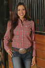 Women's Cinch Red Patterned Button Front Shirt - MSW9164042