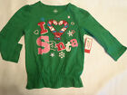 HOLIDAY TIME Girls Size 3T Green Christmas Cotton Shirt NWT