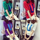 Women Loose Short Sleeve Knit Casual Blouse Shirt Tops Fashion Summer T-shirt