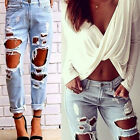 Fashion Women's Solid Novelty beggar hole Skinny Ripped Ninth Pants Jeans