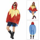 Smiffys Adults Parrrot Party Poncho Kagool Waterproof Festival Coat With Bag