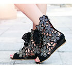 Gladiator Hollow Out Flower Rhinestone Women Low Heels Lace up Ankle Boot Sandal