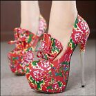 Chinese Style Women's Super High Heel Platform Bowknots Round Toe Clubwear Shoes
