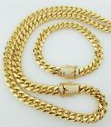 """Men 18k Yellow Gold Stainless Steel 12mm 24"""" 30"""" Miami Cuban Curb Link Chain"""