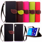 Luxury Painted Flip PU Leather Wallet Card Stand Case Cover Pouch For Sony Phone