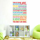 """This is your Life"" Wall Art Quote Stickers Vinyl Decal Home Office Decor Mural"
