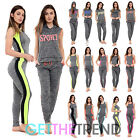 Womens Sports Fitness Outfit Set Ladies 2 Piece Sleeveless Vest Top & Pants Suit