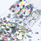 Holographic Nail Sequins Silver Laser Hexagon 1/2 /3mm Glitter Manicure Flakes