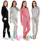 Women Ripped Round Neck Top & Pants Set Ladies Distressed Loungewear Tracksuit