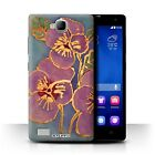 STUFF4 Phone Case for Huawei Honor Smartphone/Floral Silk Effect/Cover