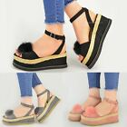 Womens Ladies Espadrilles Pom Pom Wedge Sandals Peep Toe Strappy Flatforms Size