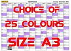 A3 year planner Landscape 2017 or 2018 Wall Calendar Chart Choice of 25 colours