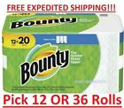 Bounty Paper Towels, White, Mega, Select A Size Rolls 12 Rolls or 36 Rolls - NEW