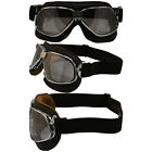 NANNINI CRUISER HAND-SEWN PADDED BROWN LEATHER GOGGLES SILVER FRAMES MIRROR LENS