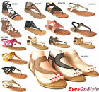 New Womens Gladiator Sandals Thong Flip Flops T Strap Flats Strappy Toe Shoes
