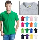 Mens Boys Lapel P OLO Shirt Short Sleeve Slim Fit Solid Color Cotton Tee T-shirt