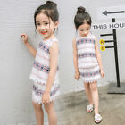1-5 Years Girls White Summer Dress Outfits Baby Kids Sleeveless Tee Clothes Sets