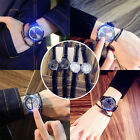 Unisex Touch Screen Mirror Automatic Digital LED PU Leather Band Sport Watch