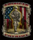 American Military Patriot Warrior with Flag JUMBO PRINT T shirt SHIPS FAST
