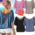 US Womens Summer Loose Tops Lace Short Sleeve Blouse Ladies Casual Tops T-Shirt