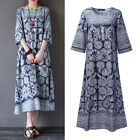 ZANZEA Women 3/4 Sleeve Loose Vintage Floral Print Cotton Evening Party Dress US